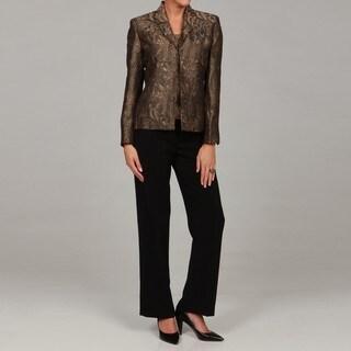 Kasper Women's Gold/ Black 3-piece Pant Suit