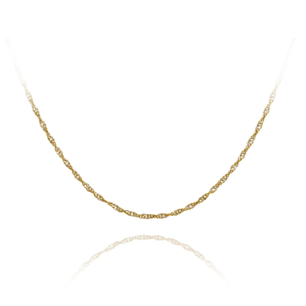 Mondevio Two-tone Silver 18-inch Italian Singapore Chain Necklace
