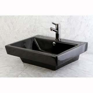 Plaza Black Recess Table/ Wall Mount Bathroom Sink