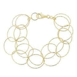 Mondevio 18k Gold over Silver 7.5-inch Double Row Intertwined Link Bracelet
