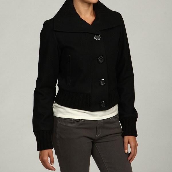 Black Rivet Women's Black Wool-blend Bomber Jakcet