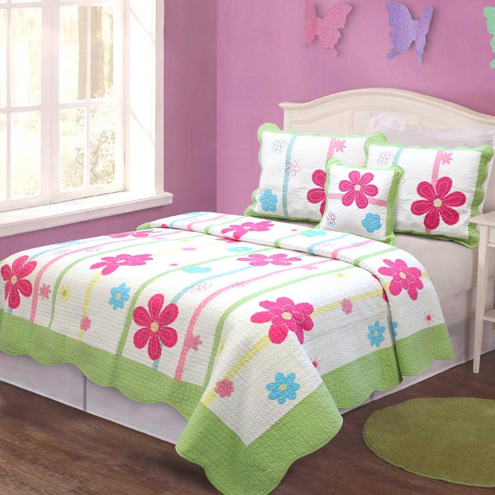 girl floral quilt bedding set kids twin size patchwork 100 cotton multi colored ebay. Black Bedroom Furniture Sets. Home Design Ideas