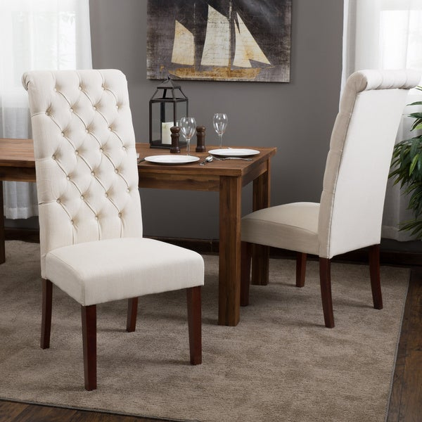 Christopher Knight Home Tall Natural Tufted Fabric Dining Chair (Set of 2)