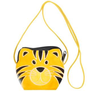 Yellow Happy Kitty Leather Zippered Coin Purse Made in India