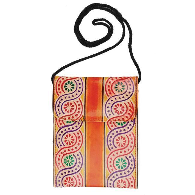 Leather Swirly Orange Passport Purse (Indonesia)