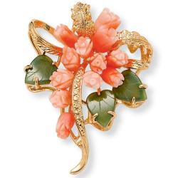 Angelina D'Andrea Goldtone Coral and Jade Flower Pin