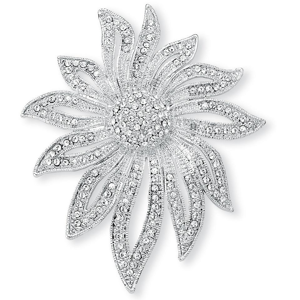 PalmBeach Round Crystal Pave Silvertone Flower Pin Bold Fashion