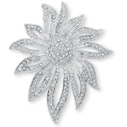 Lillith Star Silvertone Crystal Flower Pin
