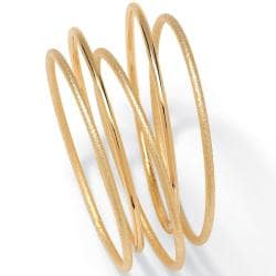 Toscana Collection Goldtone Costume Stackable Tailored Bangle Bracelets (Set of 5)