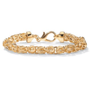 "PalmBeach Byzantine Link Bracelet in Yellow Gold Tone 9"" Tailored"