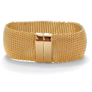 "PalmBeach Mesh Bangle Bracelet in Yellow Gold Tone 8"" Tailored"