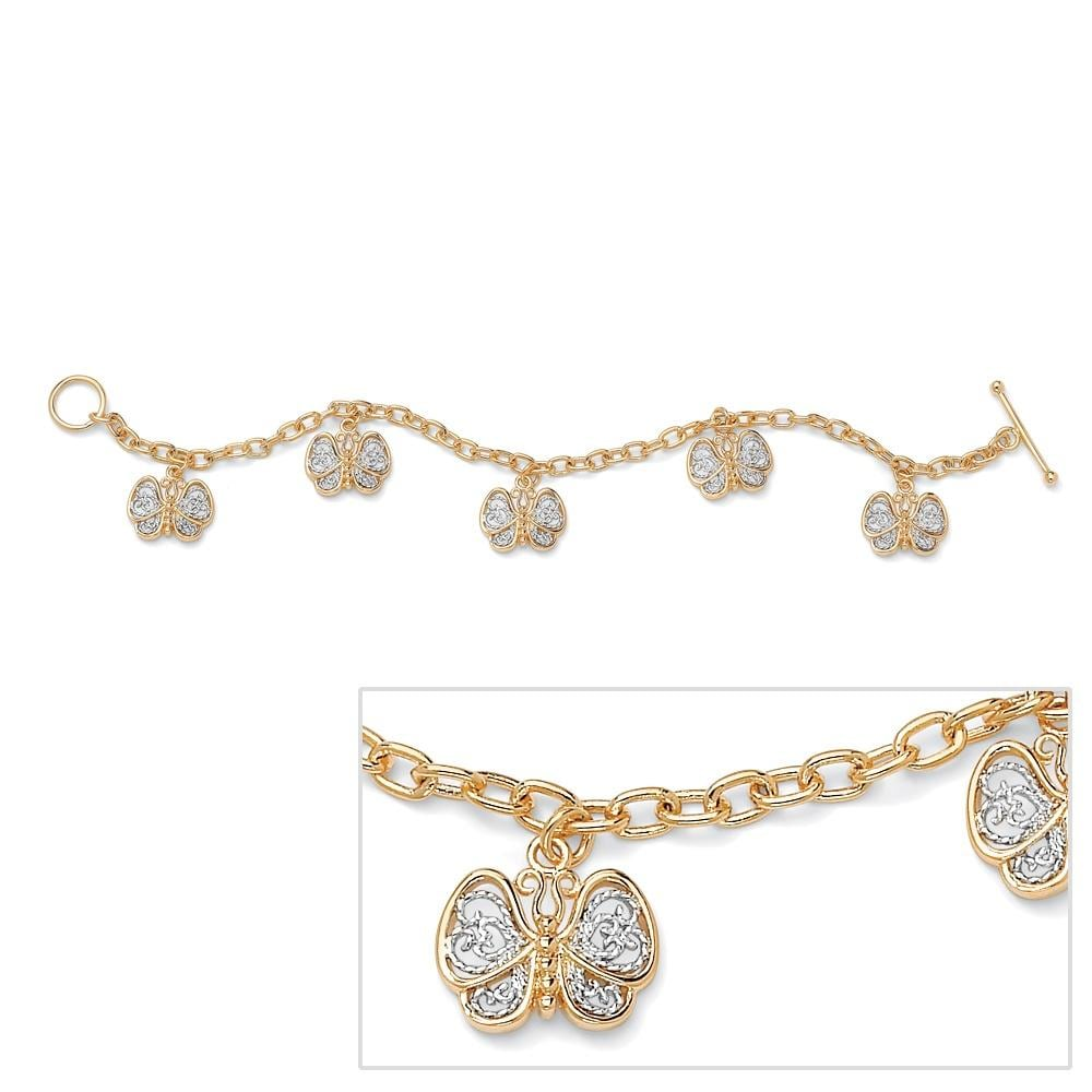 "PalmBeach 18k Gold-Plated Filigree Butterfly Charm Bracelet 7 1/2"" Tailored"