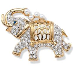 Goldtone Simulated Pearl and Crystal Elephant Pin with Blue Eye