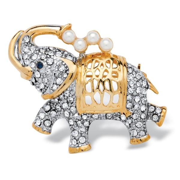PalmBeach Goldtone Simulated Pearl and Crystal Elephant Pin with Blue Eye Bold Fashion
