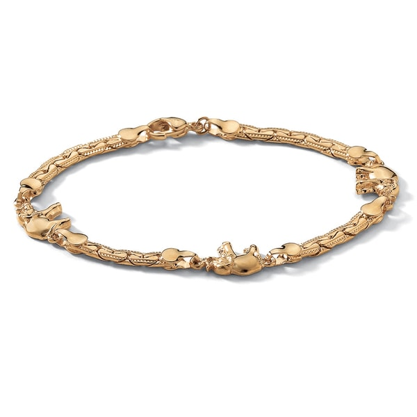 "PalmBeach Elephant Ankle Bracelet in Yellow Gold Tone 10"" Tailored"