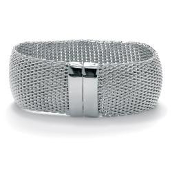 PalmBeach Silvertone Mesh Bangle Bracelet Tailored