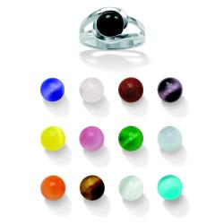 Angelina D'Andrea Sterling Silver Multi-gemstone 14-piece Interchangeable Ring Set