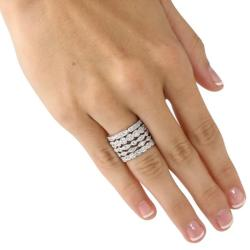 Ultimate CZ Silvertone Cubic Zirconia Stackable Eternity Rings (Set of 5)