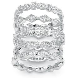 PalmBeach CZ Silvertone Cubic Zirconia Stackable Eternity Rings (Set of 5)