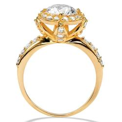 Ultimate CZ Gold over Silver White Cubic Zirconia Ring