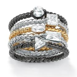 Isabella Collection Tri-Tone Cubic Zirconia Braided Stackable Rings (Set of 5)