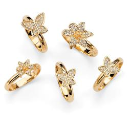 PalmBeach Goldtone Crystal Butterfly and Flower Design Ring Set Bold Fashion