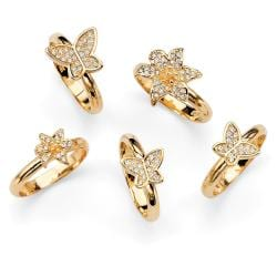 Isabella Collection Goldtone Crystal Butterfly and Flower Design Ring Set