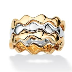 Toscana Collection Two-Tone Stackable Zig-Zag Rings (Set of 3)