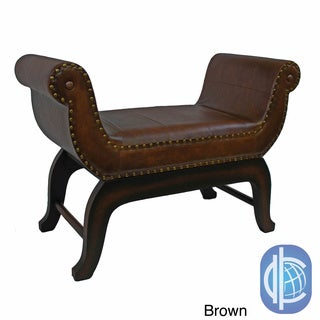 International Caravan Faux Leather Vanity Stool