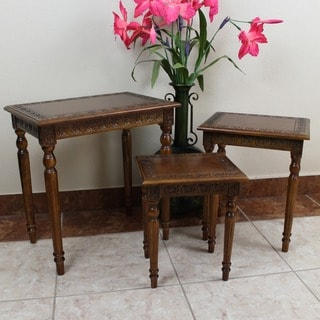 International Caravan Windsor Carved Wood Nesting Tables (Set of 3)