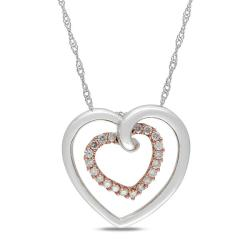 Miadora 10k Two-tone Gold 1/4ct TDW Diamond Heart Necklace (G-H, I2-I3)
