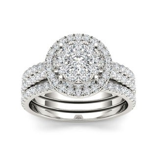 De Couer 10k Gold 1ct TDW Diamond Halo Bridal Ring Set (H-I, I2-I3)