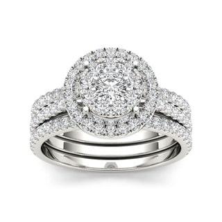 De Couer 10k Gold 1ct TDW Diamond Halo Bridal Ring Set (H-I, I2) with Bonus Necklace