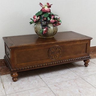 International Caravan Windsor Carved Wood Two-drawer Coffee Table