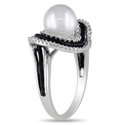 Miadora Sterling Silver 1/4ct TDW Diamond and FW Pearl Ring (G-H, I2-I3)(8-8.5 mm)
