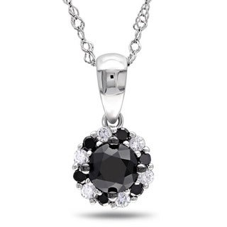 Miadora 10k White Gold 1/2ct TDW Black and White Diamond Halo Necklace (G-H, I2-I3)