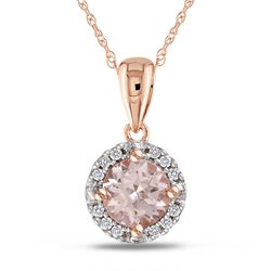 Miadora 10k Pink Gold Morganite and 1/10ct TDW Diamond Necklace (G-H, I2-I3)