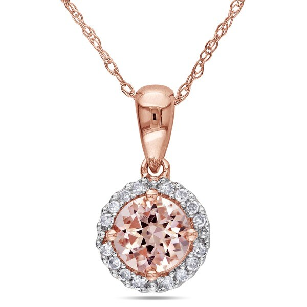 Miadora 10k Rose Gold 1/10ct TDW Diamond and Morganite Solitaire Halo Necklace (G-H, I2-I3)