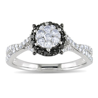 14k White Gold 1/2ct TDW Black and White Diamond Ring (G-H, I1-I2)