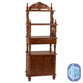 International Caravan Windsor Carved Wood One-drawer 4-tier Bookshelf