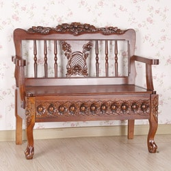 Carved Wood Bench with Under-Seat Storage