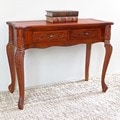 International Caravan Windsor Carved Wood Queen Anne Two-drawer Style Hall Table