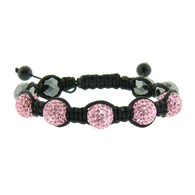Eternally Haute Hematite and Pink Crystal Macrame Bracelet