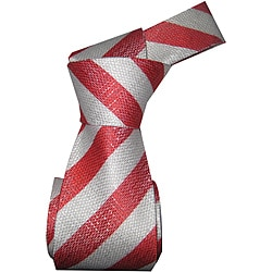 Dmitry Men's Red Striped Italian Silk 59-inch Tie