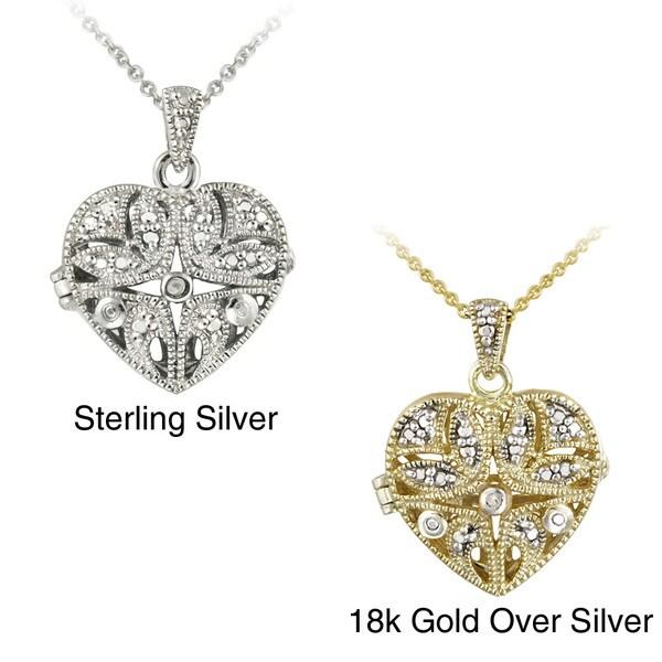 DB Designs Sterling Silver Diamond Accent Filigree Heart Locket Necklace