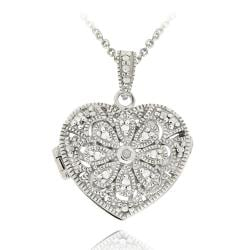 DB Designs Sterling Silver Diamond Accent Flower Heart Locket Necklace