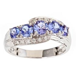 D'Yach 14k White Gold Tanzanite 1/10ct TDW Diamond Ring (G-H, I1-I2)