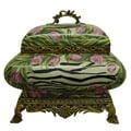 Pink Tulips Square Porcelain Ormolu Cover Box
