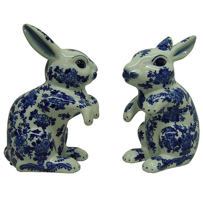 Blue and White Porcelain Rabbits (Set of 2)
