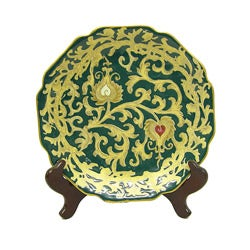 Evergreen Scallop Porcelain Plate with Stand